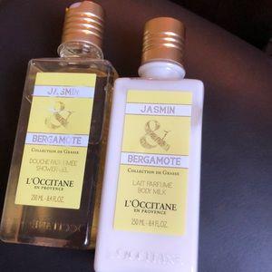 Perfumed L'Occitane beauty milk / Shower gel set